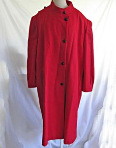 Vintage 70s Red Coat Lady Suzette Plus Size Maxi Deadstock Oversize Military