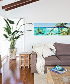 Coastal interior Lounge Room from House Rules! Living Room Inspiration, Home Decor Inspiration, Tropical Interior, Coastal Interior, Coastal Decor, Australia House, Dream Beach Houses, House Rules, Style At Home
