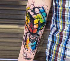 Rubik Cube tattoo by Kiwi Tattoo