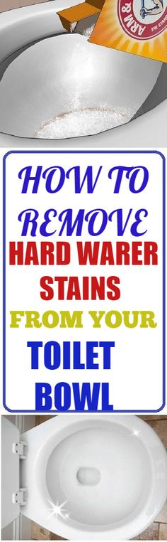 Remove those ugly hard-water stains from your toilet bowls. #cleaning #clean #hardwaterstains #stains #toilet #toiletbowl #bathroom #cleaninghacks #hacks Toilet Hard Water Stains, Clean Toilet Bowl Stains, Cleaning Recipes, House Cleaning Tips, Diy Cleaning Products, Diy Household Tips, Cleaning Items, Green Cleaning, Cleaning Solutions