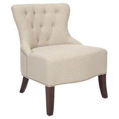 "Bring a touch of sophistication to your master suite or den with this wood-framed accent chair, showcasing tufted linen upholstery and nailhead trim.           Product: Chair      Construction Material: Beech wood and linen  Color: Beige and cherry       Features:    Button-tufted    Nailhead trim   Curved legs          Dimensions: 32.8"" H x 25.5"" W x 29.3"" D"