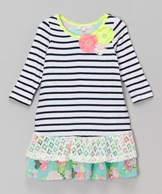 Look at this Baby Sara White Stripe Dropped Waist Dress - Infant, Toddler & Girls on #zulily today!