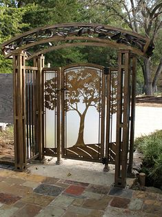 Oak tree, frosted acrylic and leaf arbor. Fabricated bronze with Verdi patina. Artist~ Scott Lindberg, Christie ThomasOrnamental Oak tree, frosted acrylic and leaf arbor. Fabricated bronze with Verdi patina. Garden Arbor, Garden Entrance, Garden Gates, Tree Garden, Tor Design, Gate Design, Driveway Gate, Fence Gate, Arbor Gate