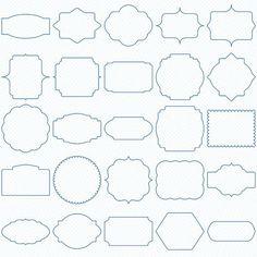 Blue Digital Frames, Classic Frames, Digital Clipart, Digital Download, Clipart Frames, Frames Clipart, Basic Frames, Scrapbooking frames.