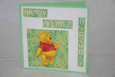 This card is perfect to give to any child/adult who loves Disney!  The text says: Happy belated birthday.  The picture of Winnie the Pooh is a 3D picture; which means that layers are glued on top of each other to create a three dimensional effect.   The white paper has flowers embossed in it. Comes with matching envelope.