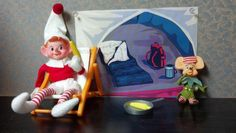 Camping elf with his buddy
