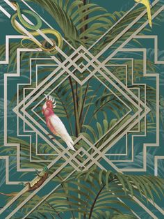 This stylish Congo Geometric wallpaper will make a great statement in most rooms of your home. The art deco inspired design features tropical birds, animals and palm leaves on a deep teal matte background. This is overlaid with a geometric trellis pattern in soft metallic silver for an interesting contrast. Easy to apply, this high quality wallpaper would look great as a feature wall or equally good when used to decorate a whole room. Geometric Wallpaper Teal, Tropical Wallpaper, Teal Background, Trellis Pattern, Paper Wallpaper, Tropical Birds, High Quality Wallpapers, Deep Teal, Exotic Pets