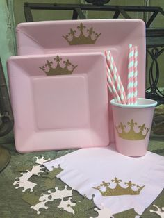 PARTY PACK... Princess Birthday Party, Pink and Gold Glitter Crown Cups, Plates, and Napkins, Confetti, Straws, Princess Baby Shower by TheTackyNut on Etsy https://www.etsy.com/listing/272270878/party-pack-princess-birthday-party-pink