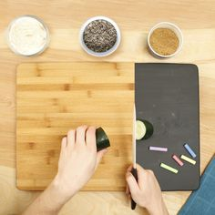 Paint an old cutting board with chalkboard paint to use as a grocery list #lowesfixinsix