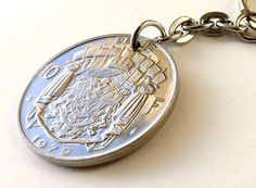 Coin keychain Belgian Mens gift Mens accessory by CoinStories