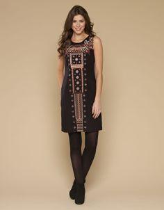 Navarros Embroidered Shift Dress | Black | Monsoon