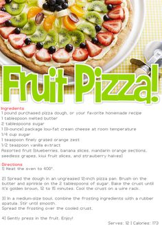 173 calories who said you couldnt have pizza just make it a fruit one =)