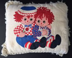 VTG Hallmark 1975 Raggedy Ann and Andy Collectible Calendar Pillow Cushion 14x11  | eBay
