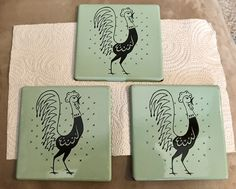 """THE """"POT ROOSTER""""  3 PORCELAIN TRIVETS/WALL DECOR 1950'S FRIGIDAIRE ADVERTISING  