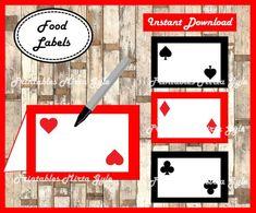 Casino night poker food labels printable casino night poker casino in Casino Theme Parties, Casino Party, Party Themes, 80s Party, Bunco Themes, Party Ideas, Casino Royale, Food Labels, Printable Labels