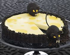 To make this creepy critter cheesecake tart, add spooky chocolate rats as a Halloween garnish.