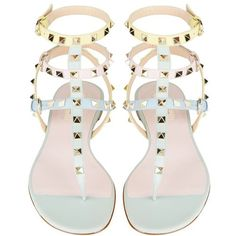 Valentino Watercolour Rockstud Leather Gladiator Sandal | Harrods featuring polyvore fashion shoes sandals flats leather shoes roman sandals leather gladiator sandals real leather shoes gladiator sandals