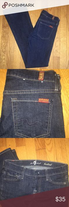 7 for all Mankind Jeans Dark Denim was color. Never been worn or washed so please wash separate for 1st wash. Inseam: 31 Length: 41 boot width: 8 7 For All Mankind Jeans Boot Cut