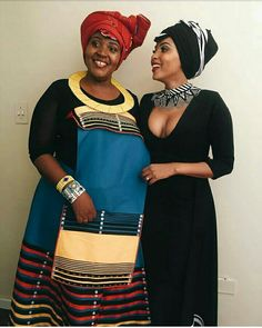 Love the necklace on the lady who is on the right side African Wedding Attire, African Attire, African Wear, African Women, African Tribes, African Weddings, African Beauty, South African Traditional Dresses, African Traditional Wedding