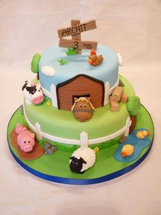 Love these animals! Cute Cakes, Pretty Cakes, Farm Birthday Cakes, Farm Animal Cakes, Farm Cake, Novelty Cakes, Cakes For Boys, Love Cake, Cake Creations