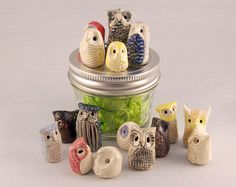 Hey, I found this really awesome Etsy listing at http://www.etsy.com/listing/114493179/miniature-clay-owls-five-ceramic-owl