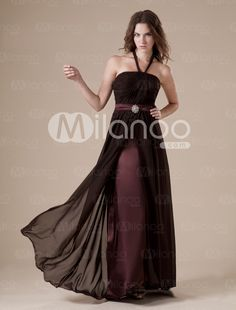 Chocolate Halter Satin Floor Length Womens Bridesmaid Dress - Milanoo.com