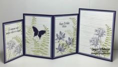 handmade bithday card from Stampin Scrapper ... open view of four fold card ...  Avant Garden ... purple and green ...