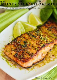 "Honey Glazed Salmon with Browned Butter Lime Sauce :: pinner wrote, ""This is incredible melt in your mouth salmon with the most amazing sauce on top!"""