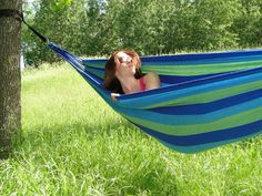 Brazilian Hammock – Double – Soft Cotton Weave for Supreme Comfort – Stylish Colors Enhance Backyard Décor – Extra Wide Bed – Includes Storage Pouch – Portable for Backpacking & Camping – Couples & Family Friendly 475 Pound Capacity (Blue & Green Stripes)