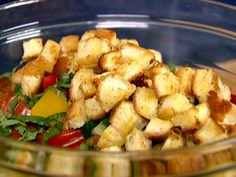 Panzanella recipe from Ina Garten: easy to make,  refreshing in a summer day.  Made vinaigrette with red wine vinegar, was great- better than store bought vinaigrette.
