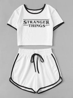 Stranger Things Letter Print Crop Set Pattern: Plain with Letter Color: White Length: Crop Material: Polyester Cute Lazy Outfits, Teenage Outfits, Teen Fashion Outfits, Sporty Outfits, Outfits For Teens, Trendy Outfits, Girl Outfits, Cute Pajama Sets, Cute Sleepwear