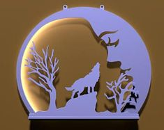 CNC Ready to cut. So simple and so beautiful effect, howling at the moon wall lamp, Set of 3.