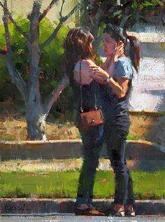 Jennifer McChristian || CurbSide Kiss, Oil 12 x 9