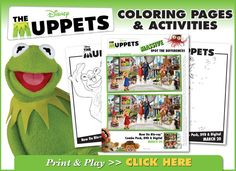 Muppet coloring pages and connect the dots