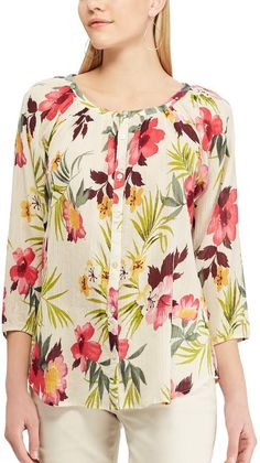 A vibrant tropical floral print enlivens this women's petite Chaps airy cotton top, making it a stylish alternative to the everyday tee. Casual Tops For Women, Trendy Tops, Cute Blouses, Blouses For Women, Party Wear Tops Online, Animal Print Blouse, Sleeveless Turtleneck, Women's Fashion Dresses, Casual Outfits