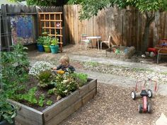 For our garden in progress we'd like to create a relaxing space for adults and a fun, natural play space for children - incorporating water play, sand and an edible garden.