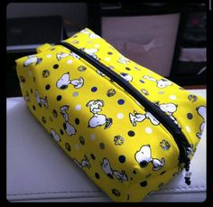 Snoopy Yellow Zippered Pouch by AltezzasBoutique on Etsy