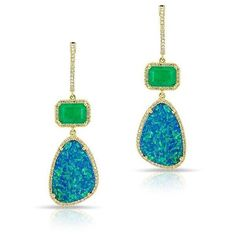 14KT Yellow Gold Emerald And Opal Diamond Drop Earrings (26.660 NOK) ❤ liked on Polyvore featuring jewelry, earrings, emerald drop earrings, gold emerald earrings, diamond jewelry, emerald earrings and yellow gold earrings