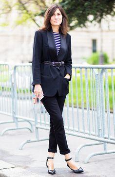 Belted Tuxedo Blazer + Striped Shirt + Rolled Jeans + Kitten Heels