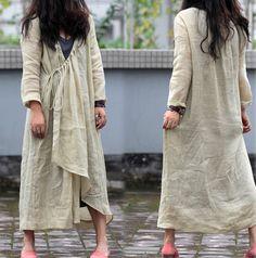 059Asymmetrical  Linen Long Coat Jacket Coat Dress by EDOA on Etsy, $88.83