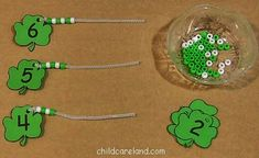 childcareland blog: shamrocks ~ I've been wanting to do this idea of pony beads on a pipe cleaner for a long time! This version looks like just the opportunity to introduce this activity to my classroom. :)