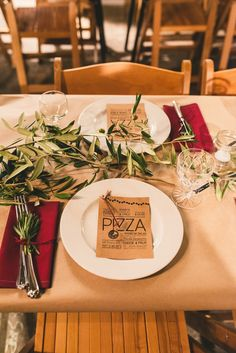 Rustic table setting for a quirky London warehouse wedding with a pizza van reception at Brixton East www.babbphoto.com
