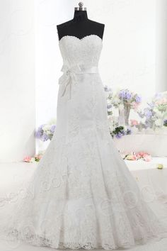 Stylish Trumpet-Mermaid Sweetheart Natural Train Lace Ivory Sleeveless Zipper Wedding Dress with Beading and Sashes CWZT14032