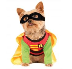 """*BIFF! PA-ZOWEE!!* Transform your loyal companion into the caped crusader's devoted sidekick with the Rubie's Costume Company Robin Dog Costume. As an officially licensed costume designer for DC Comics, Rubie's is committed to making high-quality costumes and accessories that accurately reflect each character. Modeled after the original cartoon series, this three-piece costume features a red-and-green long-sleeved shirt with an """"R"""" logo and a detachable yellow silk cape. To complete the l..."""