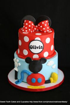 Minnie, and Mickey Mouse Clubhouse, for little Olivia turning Minnie Mouse Birthday Cakes, Mickey Mouse Clubhouse Birthday Party, Custom Birthday Cakes, Mickey Birthday, 2nd Birthday, Birthday Ideas, Pastel Mickey, Mickey And Minnie Cake, Mickey Cakes