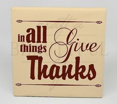 In all things Give Thanks Home Decor Canvas by CraftABeautifulLife, $22.00