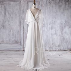 2017 Off White Chiffon Bridesmaid Dress, Deep V Neck Wedding Dress, Ruffle Sleeves Prom Dress, A Line Evening Gown Floor Length (H339) by RenzRags on Etsy https://www.etsy.com/listing/489906468/2017-off-white-chiffon-bridesmaid-dress