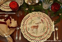 Christmas Table Setting Tablescape with Mercury Glass Trees, Cedar Garland and Glittered Deers