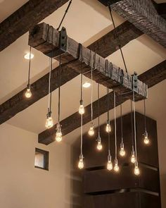 Too rustic, but i like the idea of a bunch of lights spread out this way, good idea for something custom made                                                                                                                                                                                 More