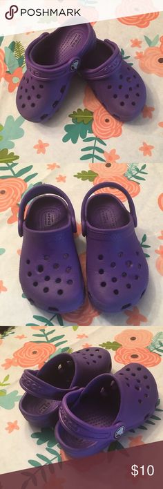 💜CROCS KIDS💜 Gently worn toddler CROCS — still in great condition! One of the holes on the top of each is slightly larger from a shoe charm. Not very noticeable, but wanted to disclose (shown in last picture).  Price firm on these. Thanks for shopping 💗 CROCS Shoes Sandals & Flip Flops